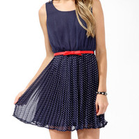 Pleated Polka Dot Dress w/ Belt | FOREVER21 - 2000049480