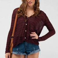 Draped Back Striped Cardigan in Burgundy :: tobi