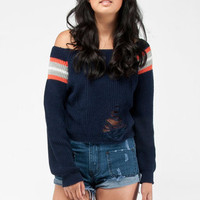 Varsity Sweater in Navy :: tobi