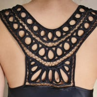 30% off Silk Satin camisole evening top with tribal decrative detail.