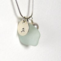 Personalized Necklace of Pale Blue Sea Glass and Handstamped Sterling Silver