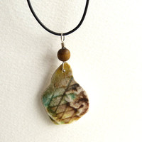 Beach Pottery Leather Necklace Ocean Tumbled