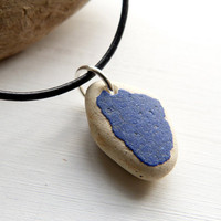 Blue  Beach Pottery Necklace - unisex necklace