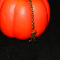 Flat Brass Colored Frog Key Chain Handmade Beautiful
