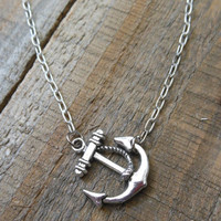 Silver Anchor and Rope Necklace - Sideways Horizontal Anchor Charm Necklace - Anchor Pendant