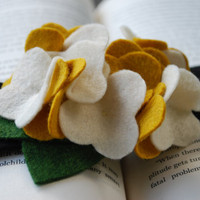 Felt Hydrangea Headband in Cream and Mustard by PosiesandPetals