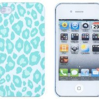 Mint Green Leopard Embossed Hard Case for Apple iPhone 4, 4S (AT&amp;T, Verizon, Sprint) - Includes DandyCase Keychain Screen Cleaner [Retail Packaging by DandyCase]