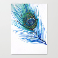 Peacock Feather I Stretched Canvas by Mai Autumn  | Society6