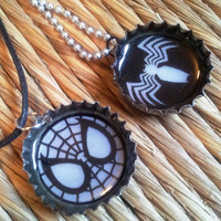 Spiderman Bottle Charms - upcycled jewelry necklace geekery comic character beer caps venom FREE shipping to USA