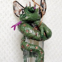 Crystal Prism Fantasy Dragon and Sculpted Clay OOAK Suncatcher