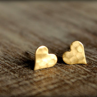 Hammered Heart Earring Studs in Raw Brass, Surgical Steel Posts