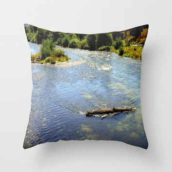 Floating Log Throw Pillow by Chris Chalk | Society6
