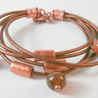 Genuine Leather Multi Strands Bracelet with Agathe and Copper