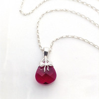 Red Bow Necklace, Dark Red and Silver Necklace, Bow Pendant, Sterling Silver Bow Necklace, Ruby Red Crystal Necklace, Cute Red Necklace