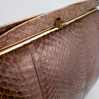 Vintage 1950&#x27;s Brown Snakeskin Handbag Purse FREE by ZealousStyle
