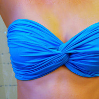 Malibu Blue Spandex Bandeau - Twisted Swimsuit Top