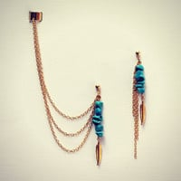 turquoise and feather ear cuff earrings, chains ear cuff, feather earrings,  feather ear cuff, tribal earrings, turquoise earrings