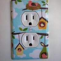 Tree Branches & Bird Houses Outlet Plate, wall decor