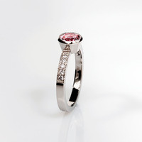 Pink tourmaline diamond engagement ring by TorkkeliJewellery