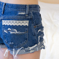 Lace Trim Vintage Shorts Distressed High Waisted Denim by floralfireworks