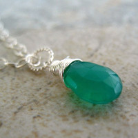 Green Necklace, Sterling Silver Jewelry, Wire Wrapped Pendant