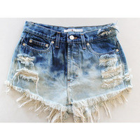 Custom Bleach Dyed Denim Highwasted Shorts from BohoChildGarments on Etsy