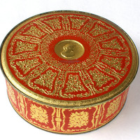 Vintage Round Cameo Tin in Red and Gold by Guildcraft