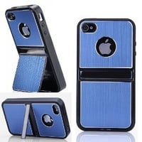 Amazon.com: Cell Phones & Accessories BLUE Aluminum TPU Hard Case Cover W/Chrome Stand For iPhone 4 4G 4S & Screen Protectors + Stylus: Cell Phones & Accessories