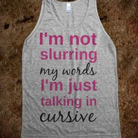 Talking in cursive-Unisex Athletic Grey Tank