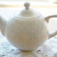 Victorian blue teapot handpainted with lace by Dprintsclayful