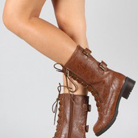 Soda Dome-HA Lace Up Military Boot