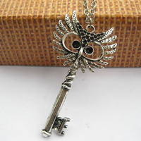 necklace antique silver owl key pendant & alloy chain