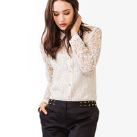 Stud Button Lace Shirt