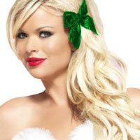 Green Glitter Hair Bows - Costume Accessories - Hair Bows