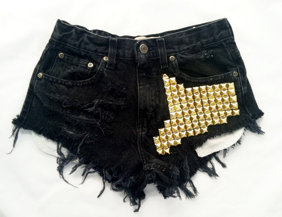 Boson short studded black cutoff shorts by Omeneye on Etsy