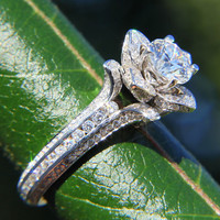 Gorgeous UNIQUE Flower Rose Diamond Engagement