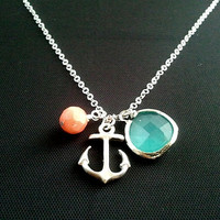 Anchor pendant, Necklace, coral, mint glass ,anchor charm, pendant, lariat, wedding, necklace, Wedding Jewelry, Bridal,