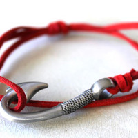 Fish Hook Bracelet Red Suede by vertini on Etsy