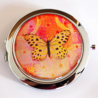 Compact mirror, Butterfly compact mirror, Orange, Pink, butterfly mirror, mirror, purse mirror, double sided mirror (21910)