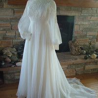 Vintage wedding dress 1970s chiffon with alencon lace bodice