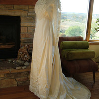 Wedding dress 1970s empire satin lace wedding dress victorian a line bridal gown