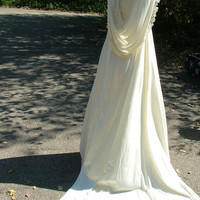 Wedding dress 1970s hippe chic poly dress with hood lace renaissance style celtic wedding gown alternative dress