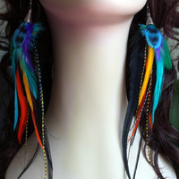 feather earrings Unforgettable's Sister by PrettyVagrant on Etsy