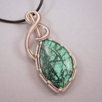 Wire Wrapped Pendant Chrysocolla Cabochon on Black by UptightWanda