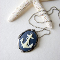 Anchor Necklace indigo and ivory anchor cameo