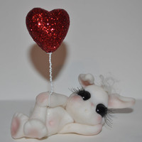 VALENTINE Snuggle Bunny  fantasy LOVE Bunny  polymer clay Rabbit great gift for Anniversary or just to say I Love You
