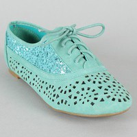 Cambridge-04GL Glitter Contrast Lace Up Oxford Flat