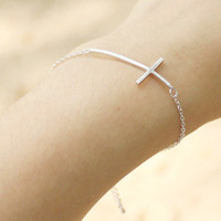 Sideways Cross Bracelet - S3268-2
