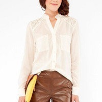 Margot Lace Button Down Blouse in Ivory :: tobi
