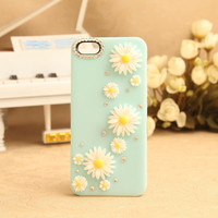 Nice Sky Blue Little Daisy Rhinestone Hard Cover Case For Iphone 5
